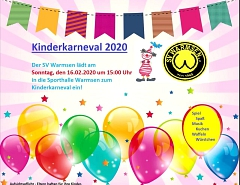 Flyer Kinderkarneval 2020 © SV Warmsen